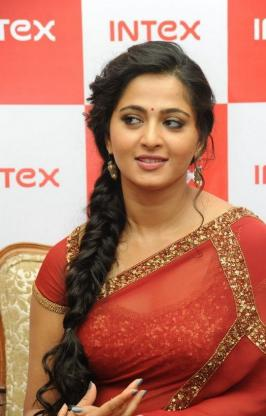 Actress Anushka at INTEX Event, Anushka New Saree Stills, Anushka Latest Photos